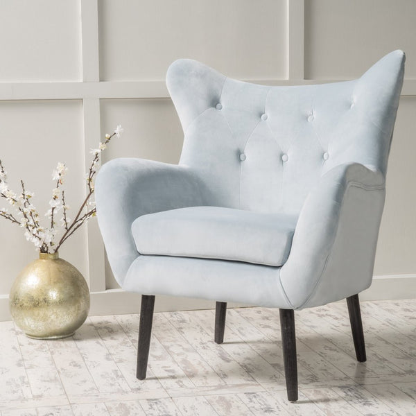 Peck Velvet Wingback Arm Chair in Many Color Options