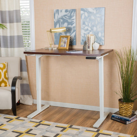 Manteo Home Edison 55-Inch Desk With Adjustable Height And Dual Powered Base