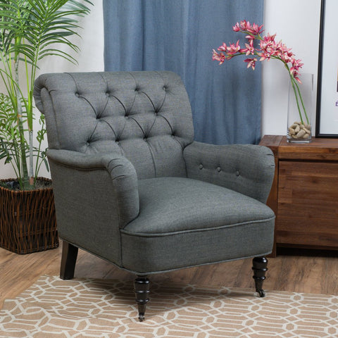Gavin Tufted Fabric Club Chair in Beige or Gray
