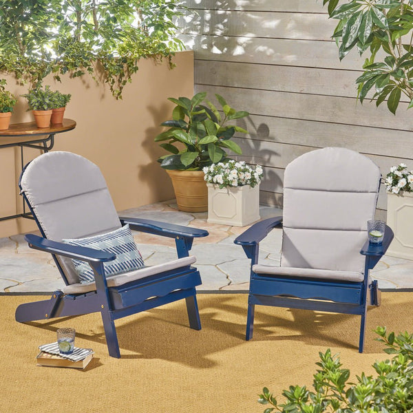 Outdoor Acacia Wood Adirondack Chairs With Cushions (Set Of 2)