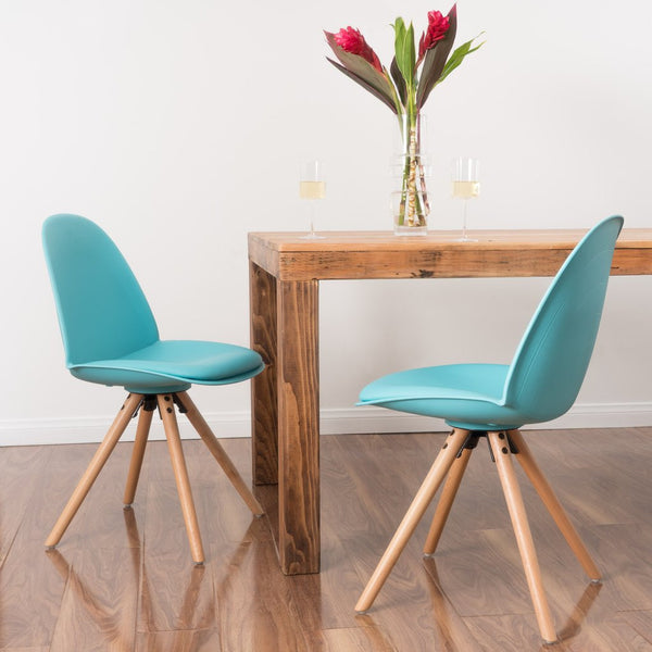 Macleod Contemporary Leather Light Blue Dining Chair (Set Of 2)