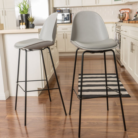 Agnus Mid Century Bar Stools (Set Of 2) in Grey or Blue