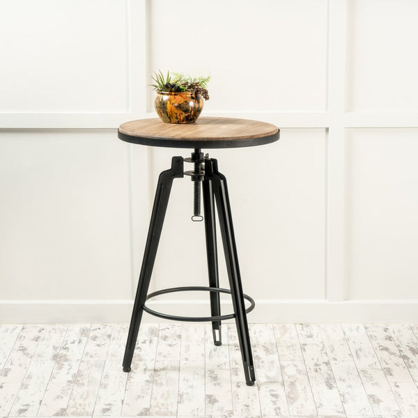 Contemporary Antique Color Firwood Swivel Bar Table
