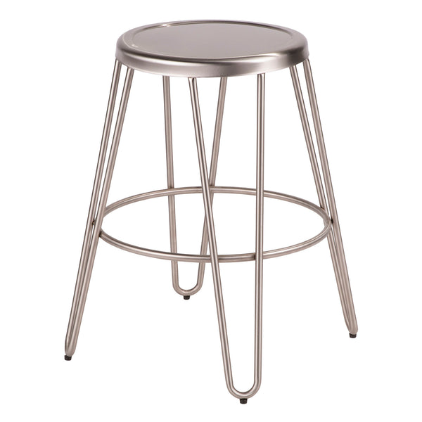 Avery Industrial Metal Counter Stool in Vintage Black or Brushed Stainless Steel - Set of 2