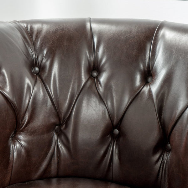 Amalfi Leather Barrel Chair in Brown