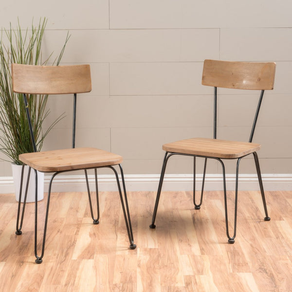 Burke Light Wood & Black Metal Frame Chairs (Set Of 2)