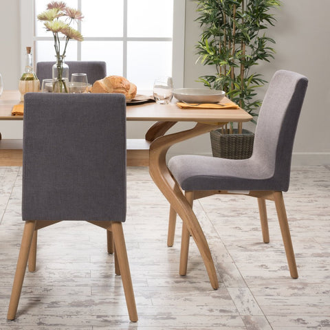 Abigail Upholstered Dining Chairs (Set Of 2) in Natural Finish Legs