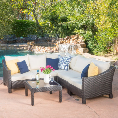 6pc Outdoor Wicker V-Shaped Sectional Sofa Set W/ Cushions
