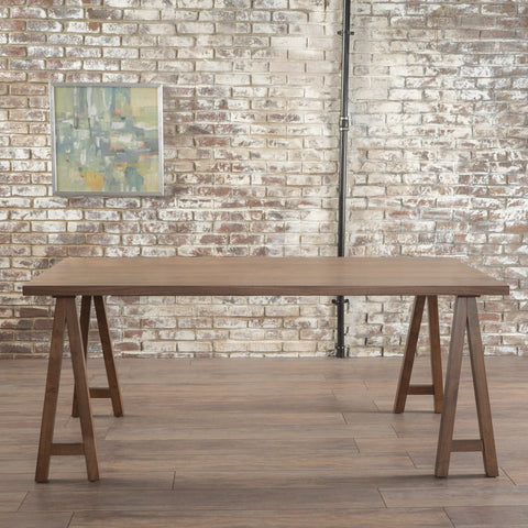 Farmhouse Wood Finish Dining Table Walnut