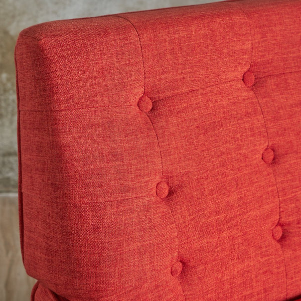 Buttoned Mid Century Modern Linen Fabric Armchair in MANY COLORS