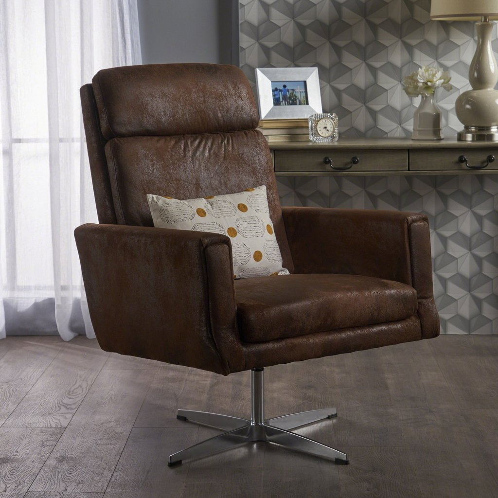 Tremendous Modern Microfiber Swivel Accent Chair In Brown Or Slate Pdpeps Interior Chair Design Pdpepsorg