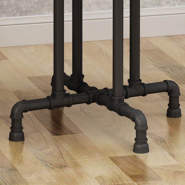 Industrial Faux Wood End Table, Dark Brown