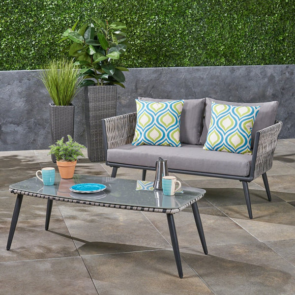 Outdoor Wicker Loveseat And Coffee Table With Tempered Glass Top