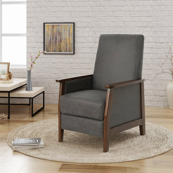 Exposed Wood High Back Microfiber Push Back Recliner