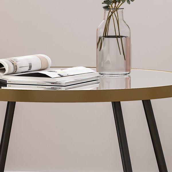 Minimalist Circular Side Table With Mirrored Top And Iron Legs, Gold And Black