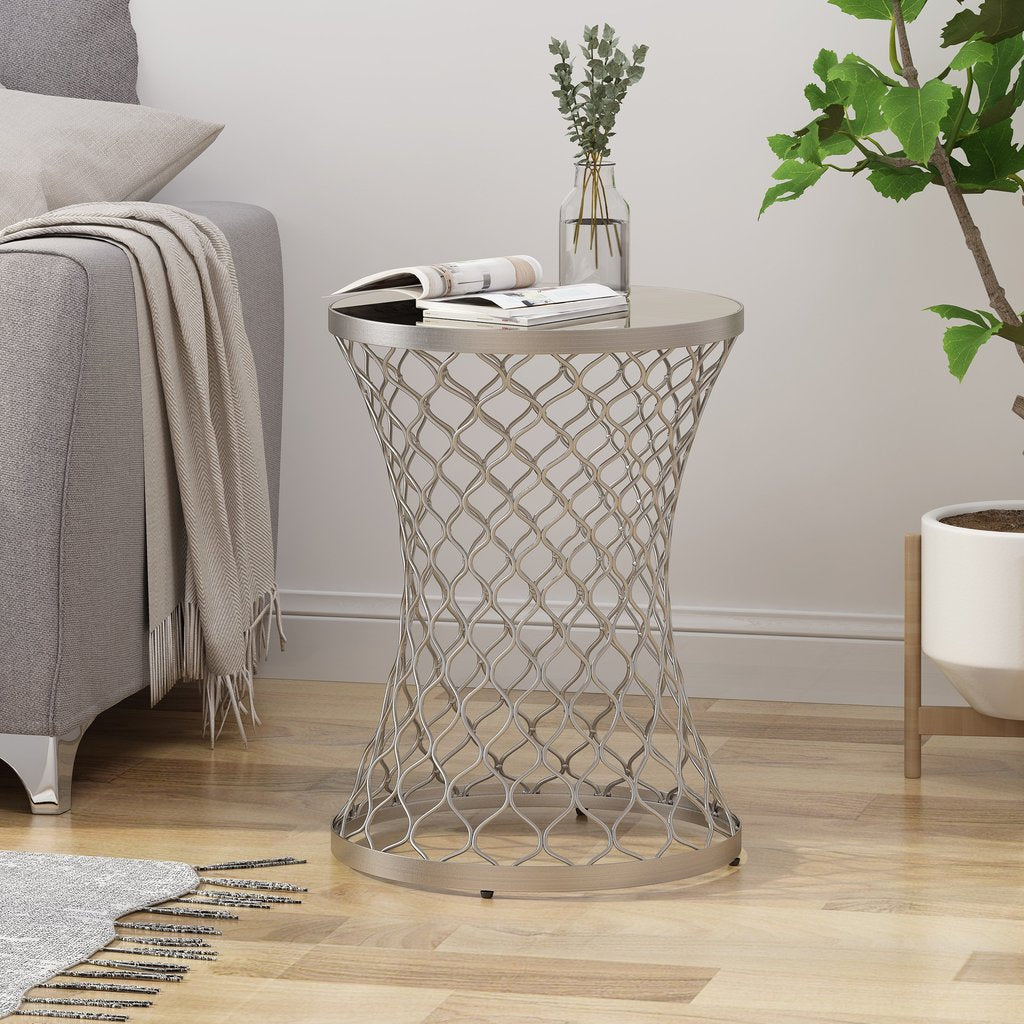 Modern Iron Hourglass Accent Table With Mirrored Top