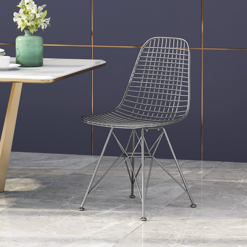 Modern Glam Iron Dining Chair in Gunmetal / Gold / Rose Gold