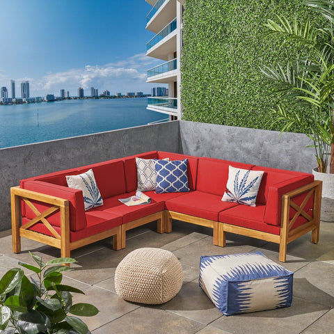 5-Piece Outdoor Sectional Sofa Set in Red