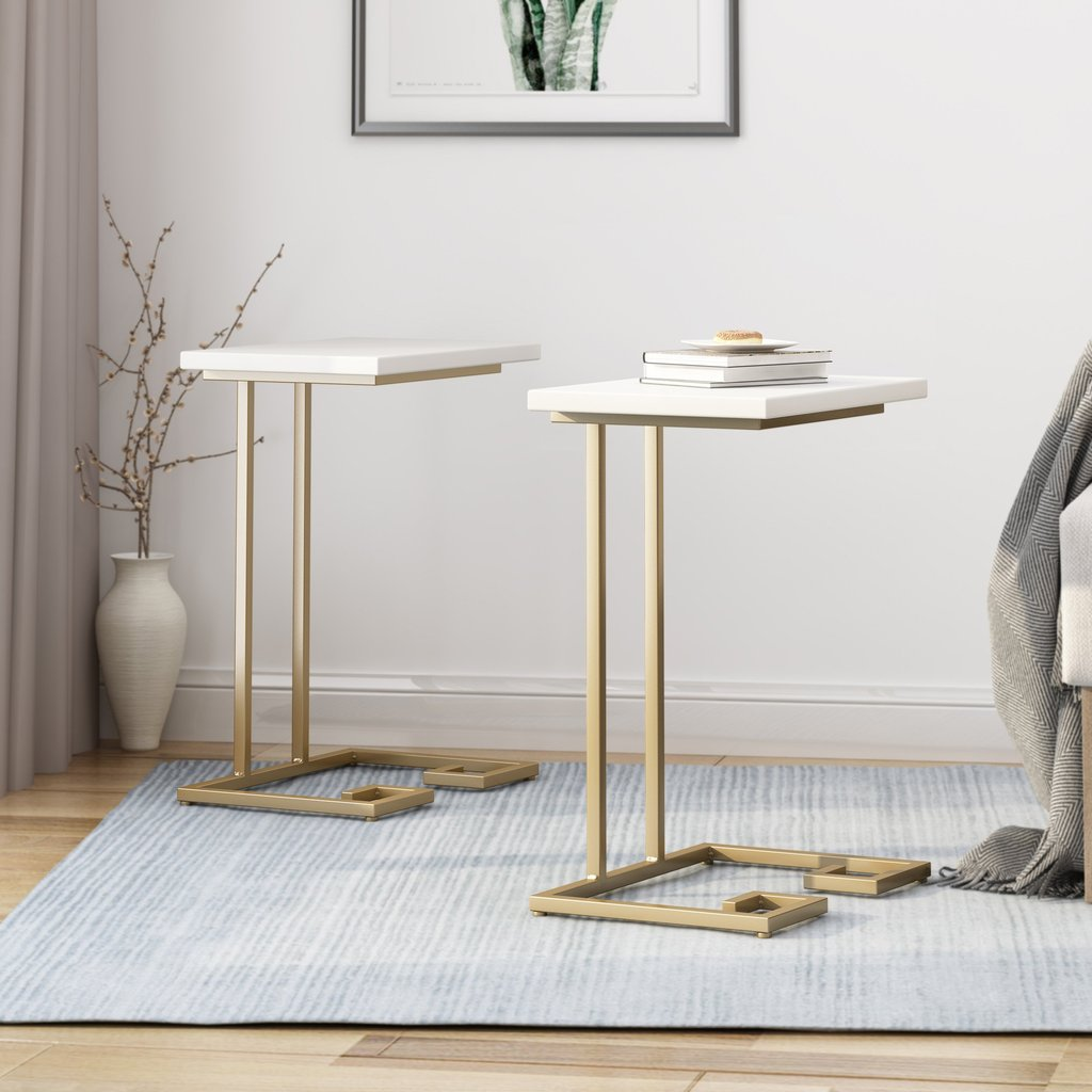 Modern Glam C Side Table, Set Of 2, White And Champagne Gold