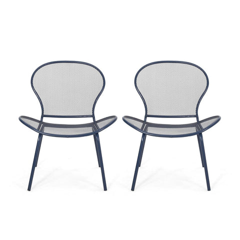 Modern Outdoor Iron Club Chair (Set Of 2)