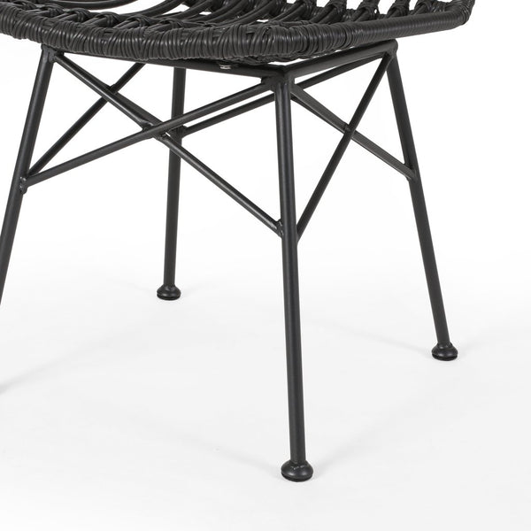 Indoor Rattan Dining Chairs (Set Of 2) in Gray / Light Brown