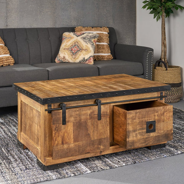 Modern Industrial Mango Wood Coffee Table, Natural Finish And Black