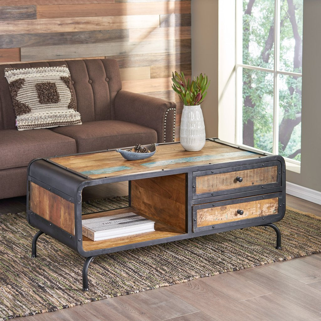 boho industrial recycled wood coffee table distressed paint and black