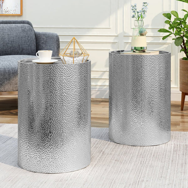 Modern Round Hammered Iron Accent Table (2 Pack) - Silver or Gold