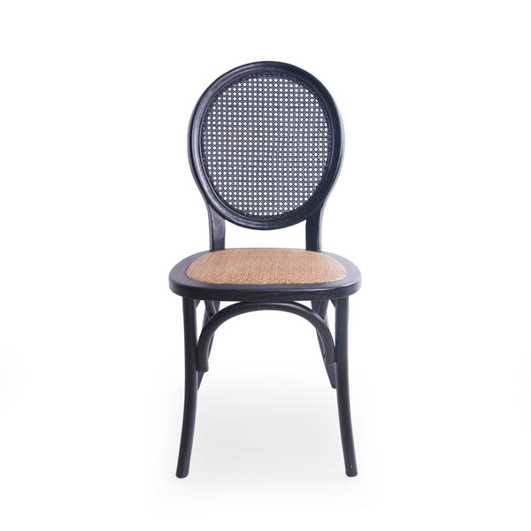 Elm Wood And Rattan Dining Chair With Rattan Seat (Set Of 2) in Brown or Matte Black