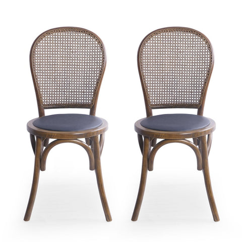 Beech Wood And Rattan Dining Chair With Faux Leather Cushion (Set Of 2) in Natural or Black