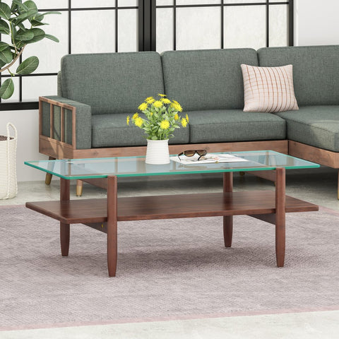 Acacia Wood Coffee Table With Tempered Glass Top - Mohogany Brown or Gray