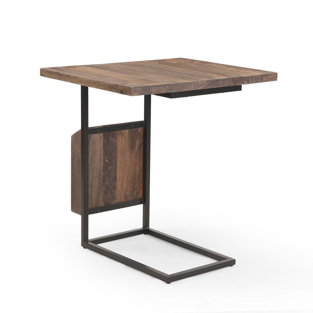 Modern Industrial Mango Wood Adjustable C-Shaped End Table