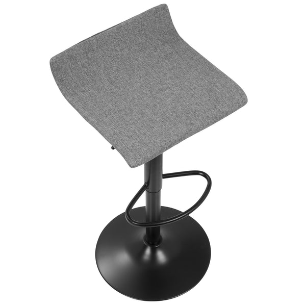 Ale XL Contemporary Adjustable Barstool in Black with Polyester Fabric - Set of 2