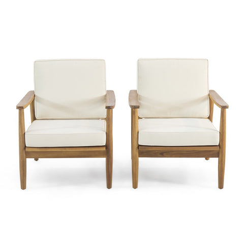 Outdoor Acacia Wood Club Chair (Set Of 2)