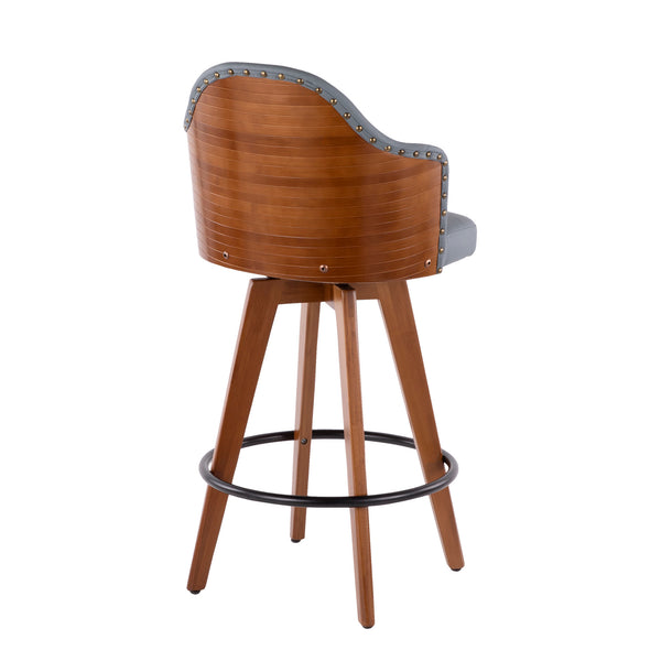 Ahoy Mid-Century Counter Stool in Walnut and Black/ Cream/ Grey Faux Leather