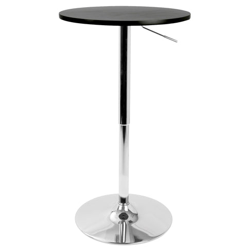 Adjustable Contemporary Bar Table in Black, Brown, Clear