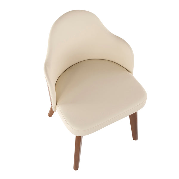 Ahoy Mid-Century Chair in Walnut and Black/ Cream/ Grey Faux Leather