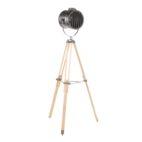Ahoy Industrial Floor Lamp in Natural Wood and Antique Metal