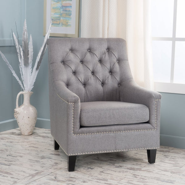 Etta Contemporary Fabric Tufted Club Chair in Many Colors