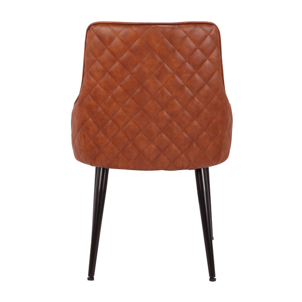 Alden Contemporary Dining/Accent Chair in Brown or Grey Faux Leather with Quilted Backrest  - Set of 2