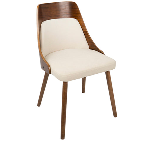 Anabelle Mid-Century Modern Dining/Accent Chair in Walnut and Cream or Grey Fabric