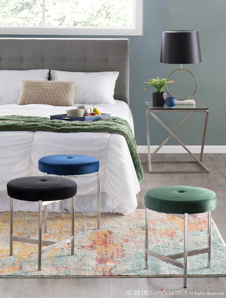 Fine Chloe Contemporary Vanity Stool In Chrome Metal And Black Blue Green Blush Pink White Velvet Caraccident5 Cool Chair Designs And Ideas Caraccident5Info