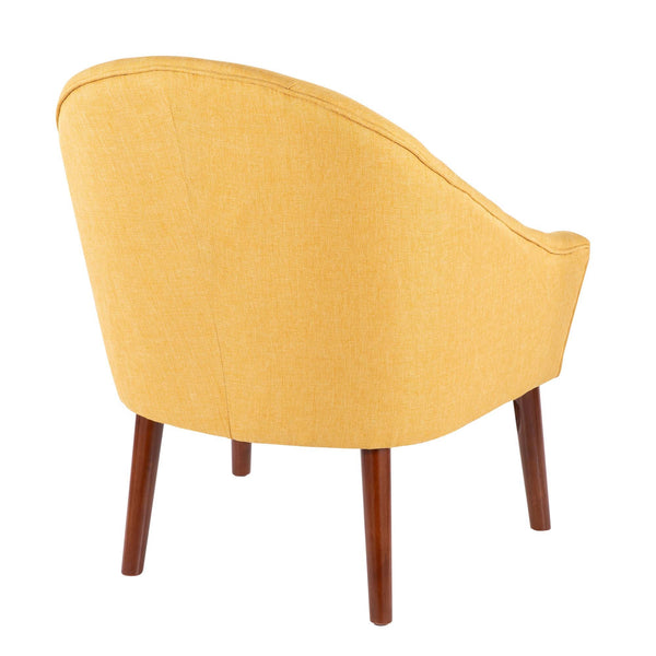 Bacci Contemporary Accent Chair in Blue/ Oatmeal/ Mid Century Blue/ Yellow Fabric
