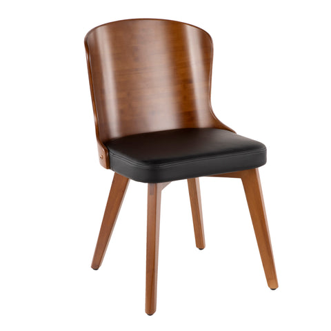 Bocello Mid-Century Chair in Walnut and Black/ Cream/ Grey Faux Leather