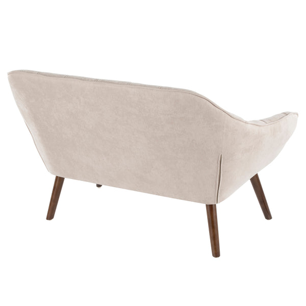 Boulder Mid-Century Modern Love Seat in Beige/Blue/Charcoal/Grey Fabric