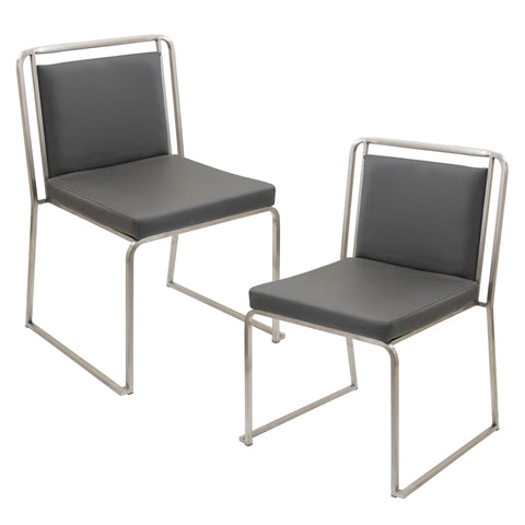 Cascade Stackable Chairs Set of 2 Black, Grey or White