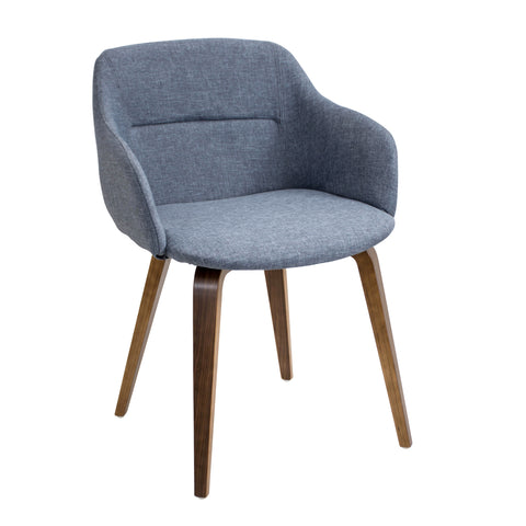 Campania Dining Arm Chair in Blue or Grey Fabric Walnut Plywood Legs