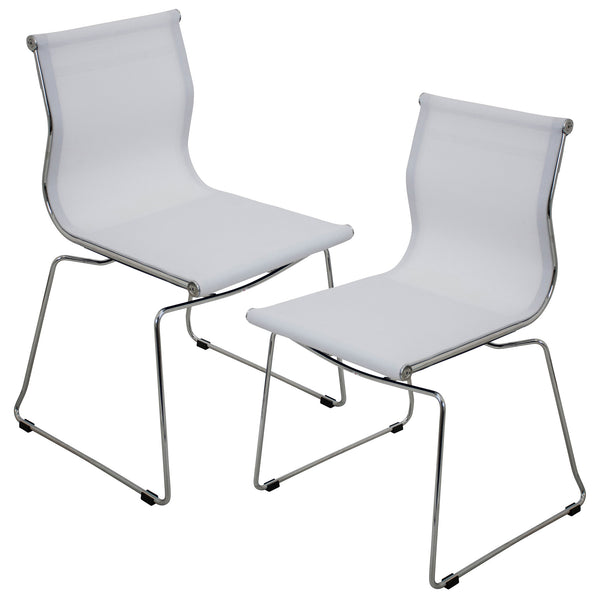 Mirage Mesh Dining Chair Set of 2 in Black, Silver or White