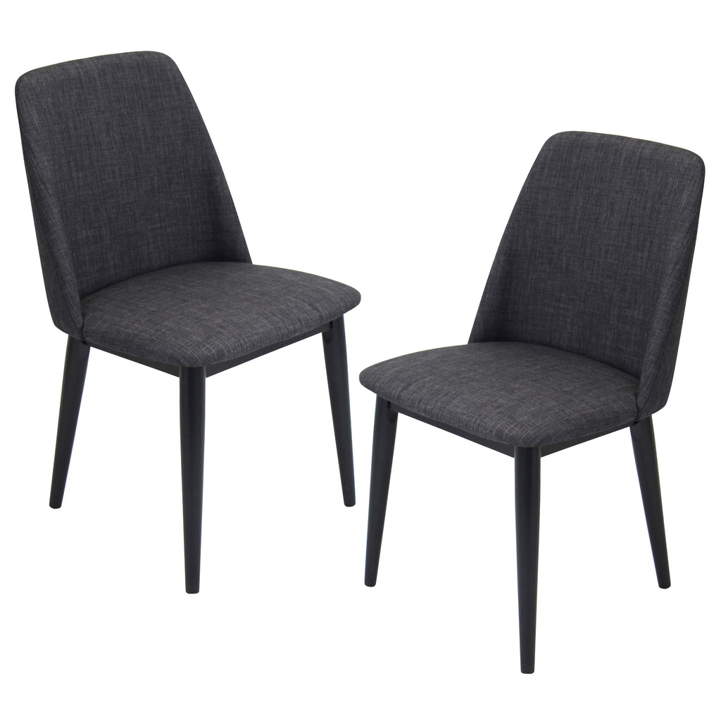 Tintori Dining Chair Set of 2 in Charcoal, Green or Brown Fabric