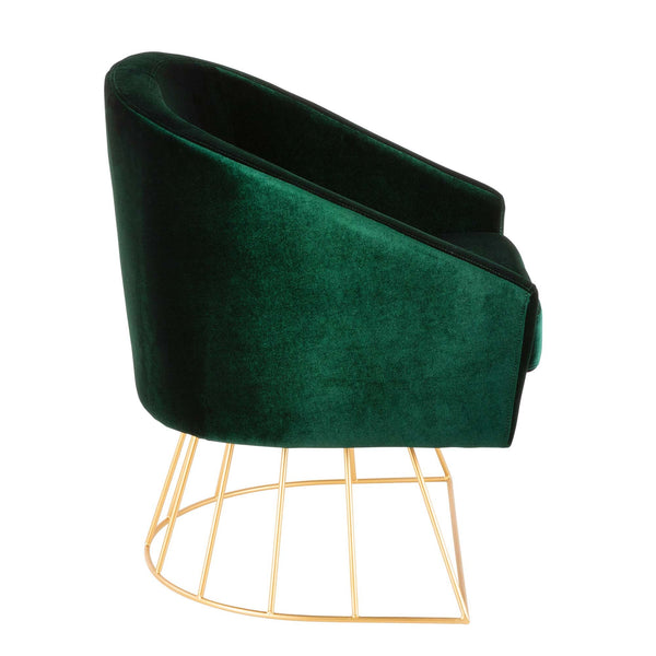 Canary Contemporary-Glam Tub Chair in Gold Metal and Royal Blue or Emerald Green Velvet